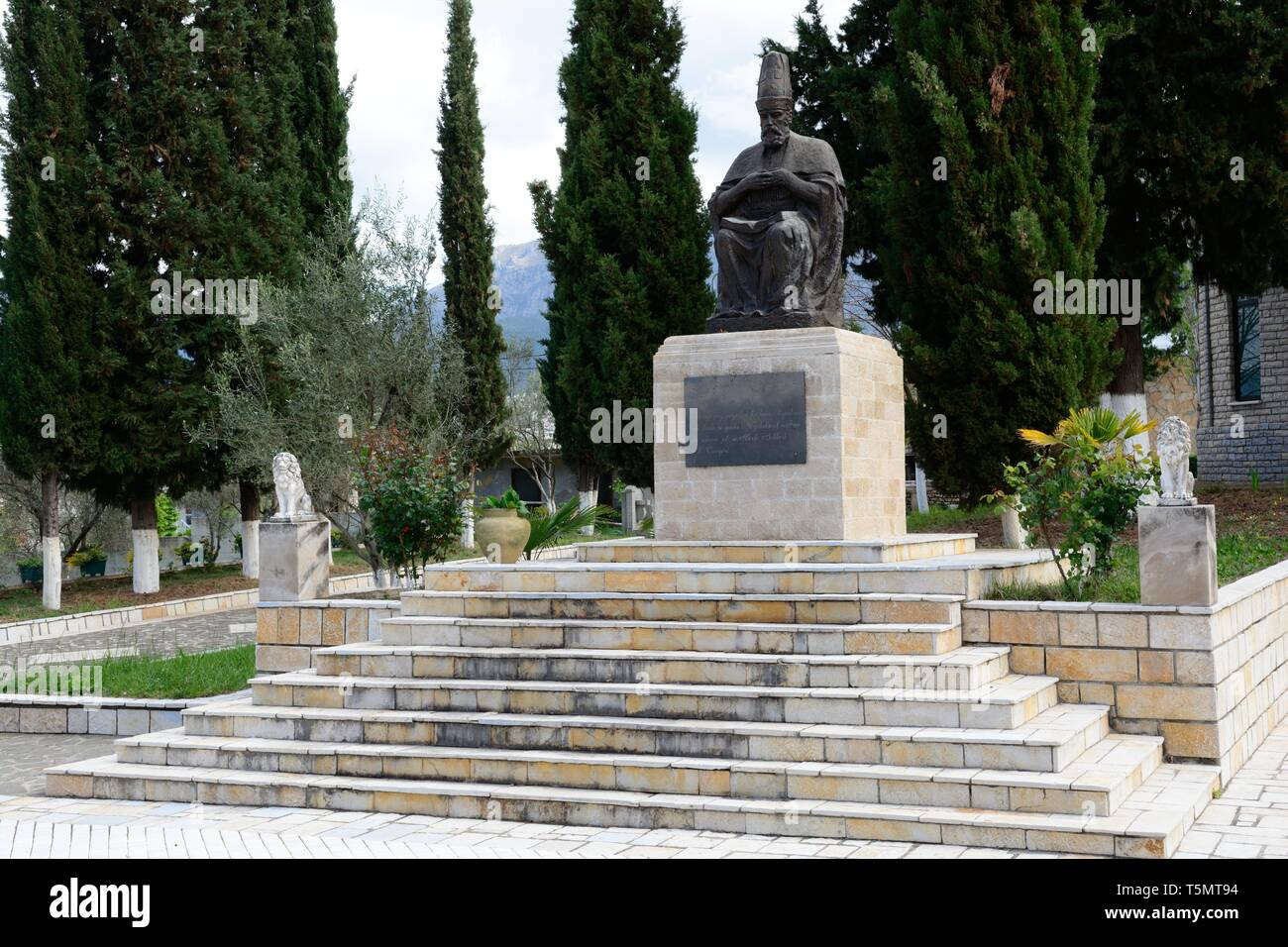 Statue of Haji Bektash an Alevi Muslim mystic at the Bektashi World Centre Bektashi order headquarters Tirana Albania - Stock Image