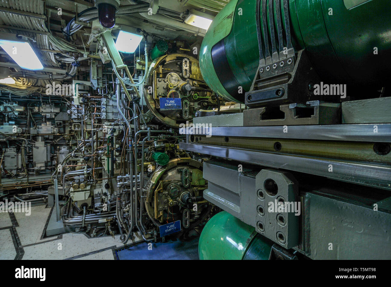 The torpedo room with Mk 48 ADCAP torpedoes, on the nuclear-powered fleet ballistic missile  submarine USS Ohio (SSBN-726/SSGN-726). - Stock Image
