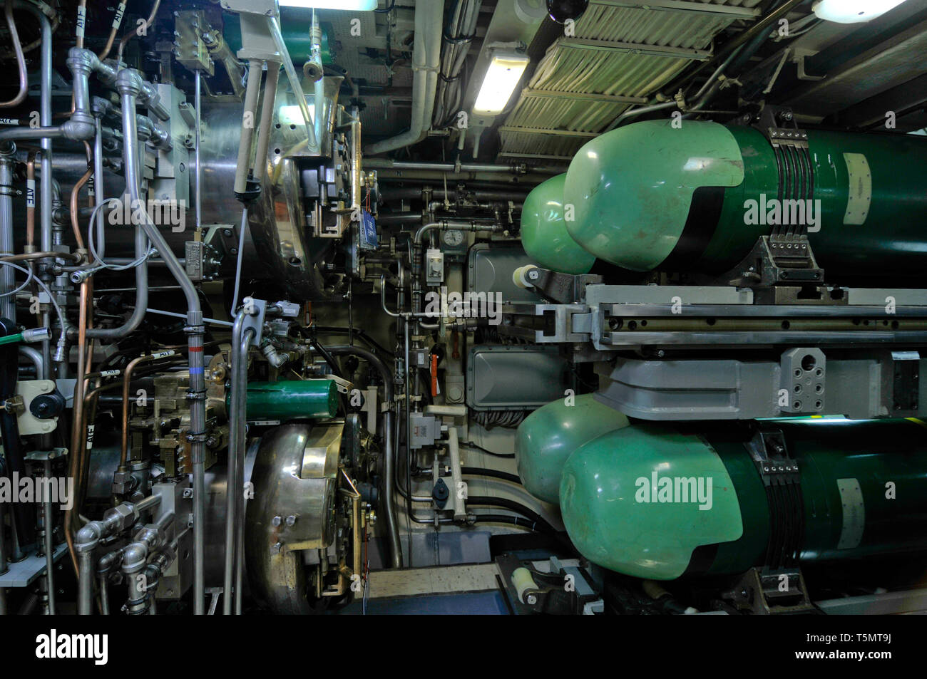 The torpedo room, with Mk 48 ADCAP torpedoes, on the nuclear-powered fleet ballistic missile submarine USS Ohio (SSBN-726/SSGN-726). - Stock Image