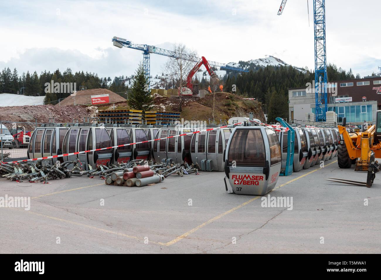 Maschgenkamm Bahn Gondolas after removal - Stock Image