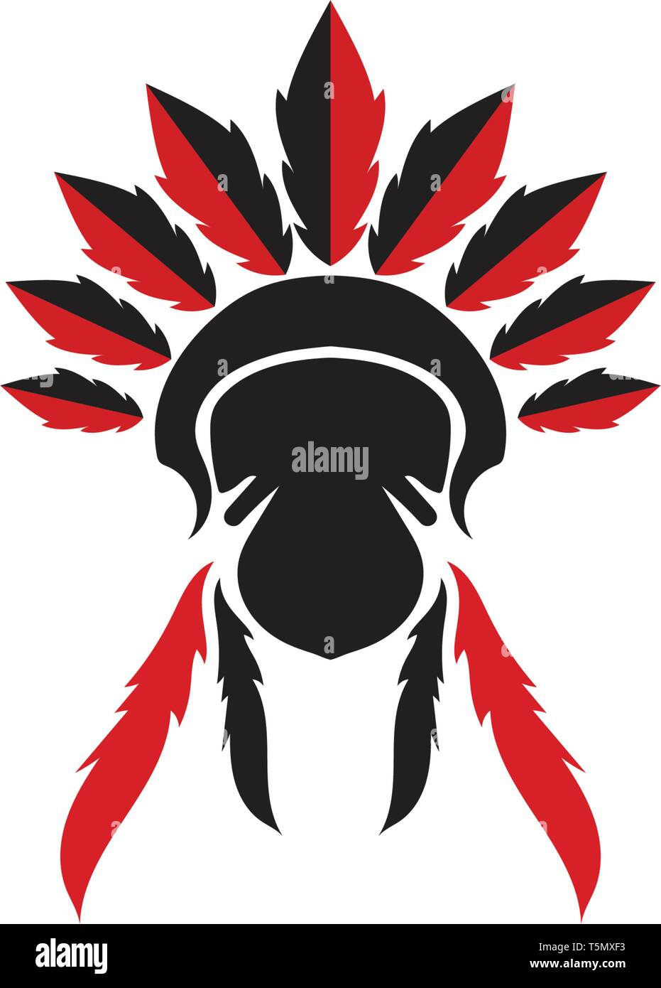 Indian apache  Chief Mascot - Stock Image