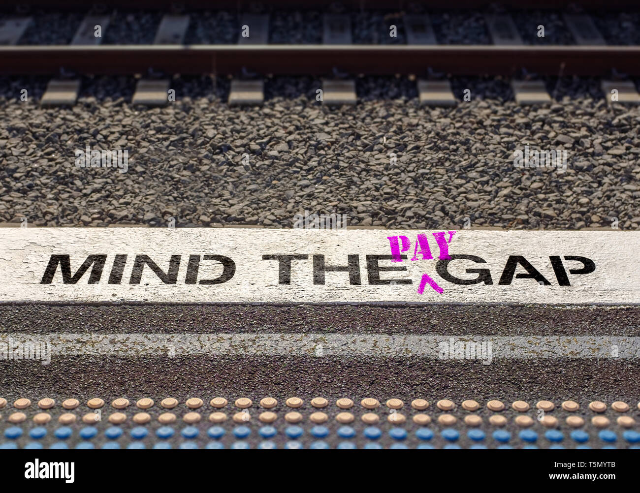Pay gap, Mind the pay gap graffiti in pink, Gender pay equality concept – Image - Stock Image