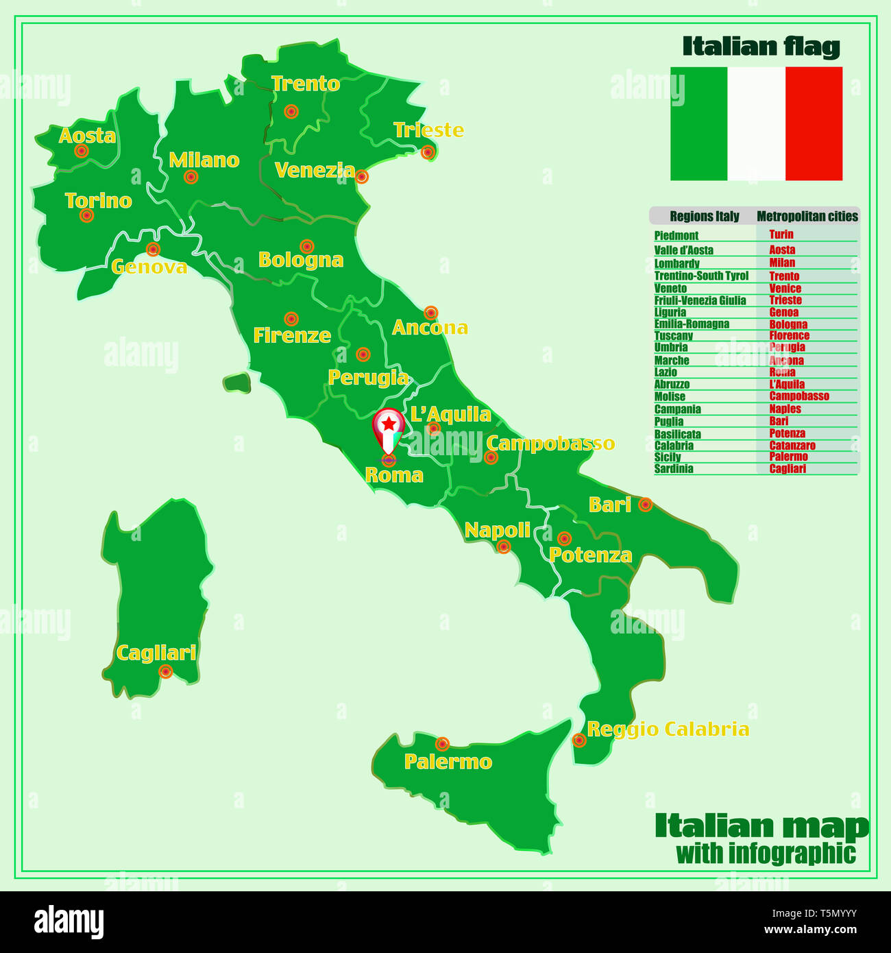 Regions Of Italy Map With Cities.Map Of Italy With Infographic Italy Map With Italian Major Cities