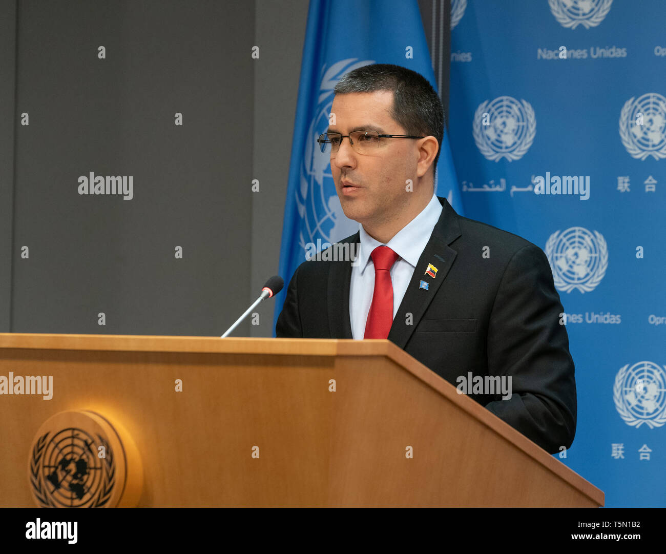 New York, NY - April 25, 2019: Press Briefing by Minister of the People's Power for Foreign Affairs of the Bolivarian Republic of Venezuela Jorge Arreaza at United Nations Headquarters - Stock Image