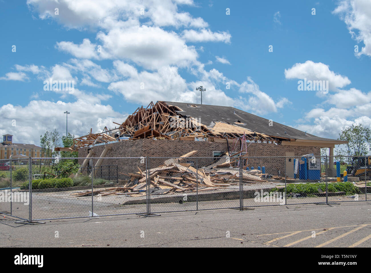 RUSTON, LA., U.S.A., APRIL 25, 2019: Two fatalities and heavy property damage are results of a powerful tornado, which struck this north Louisiana tow - Stock Image