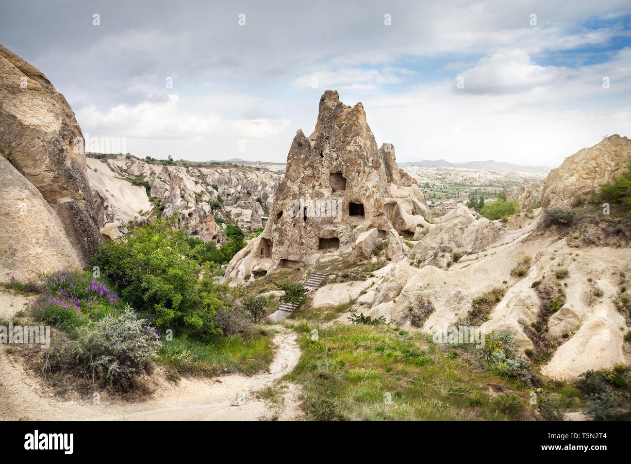 Ancient Church in the rock in Goreme open air Museum in Cappadocia, Turkey - Stock Image