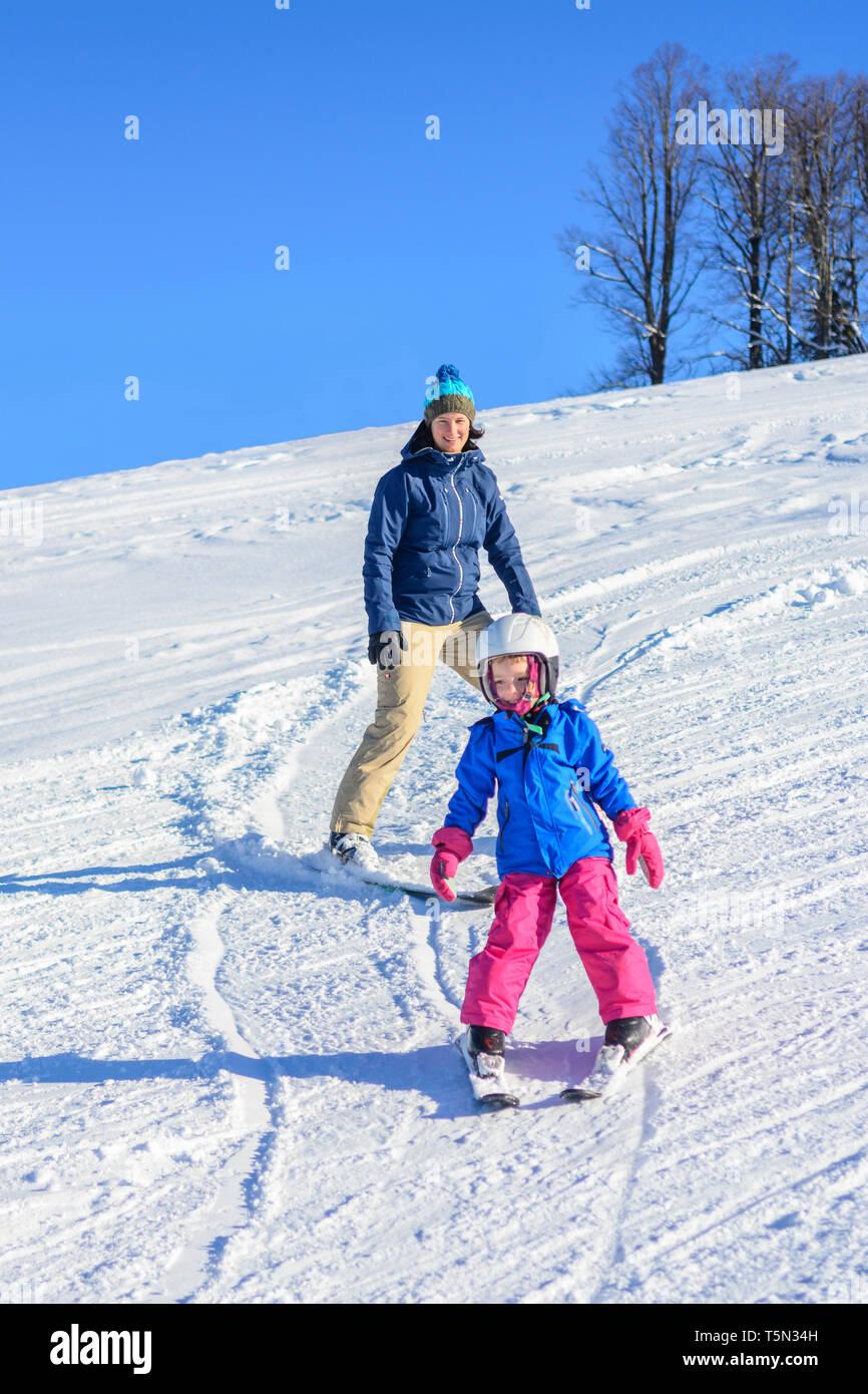 Alpine skiing on perfect prepared slope - Stock Image