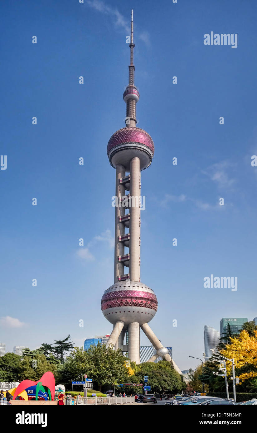 1 December 2018: Shanghai, China - Oriental Pearl Tower in the Pudong district, a radio and TV broadcasting tower which is also an observation tower a Stock Photo