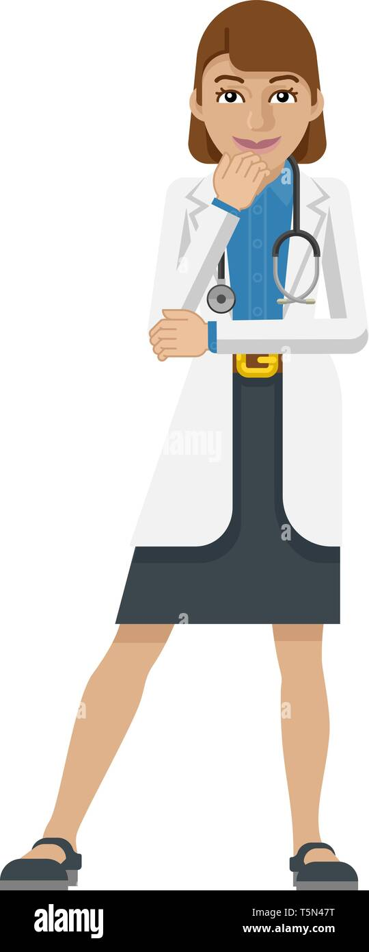 Young Woman Medical Doctor Cartoon Mascot - Stock Image