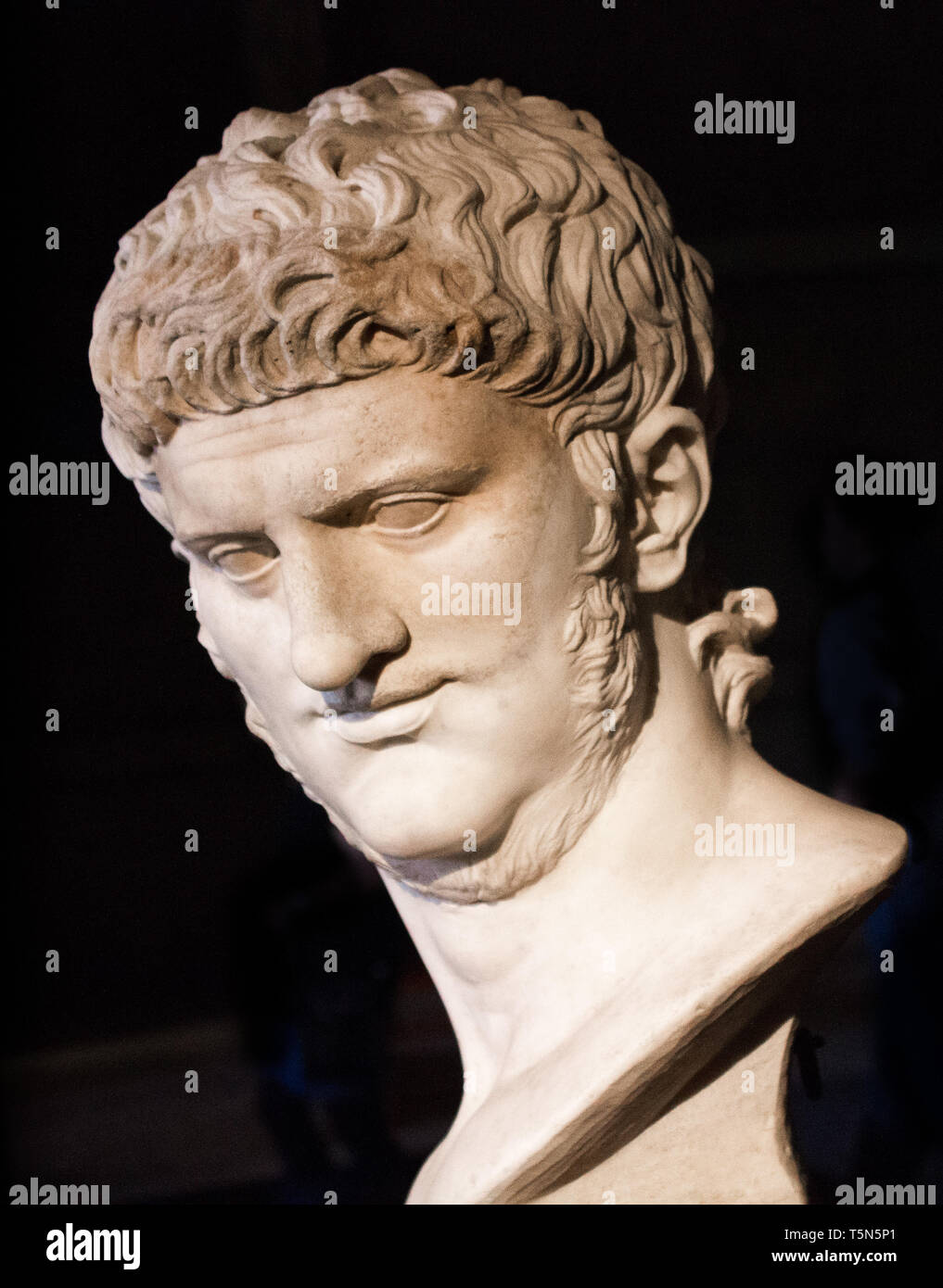 Marble Bust of Emperor Nero in the Hall of the Emperors. Curia of Roman Forum, Rome Italy - Stock Image