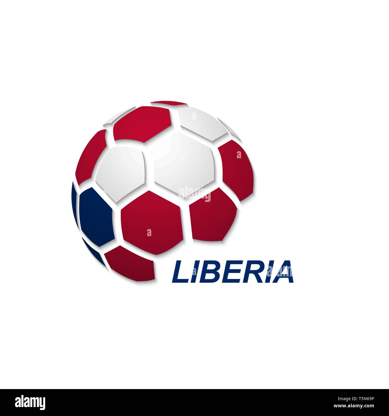 Football banner. Vector illustration of abstract soccer ball with Liberia national flag colors - Stock Image