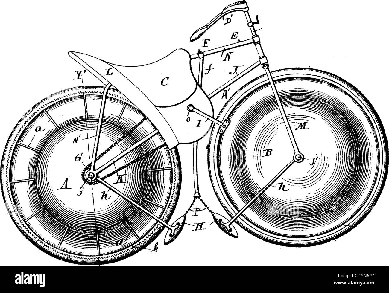 Marine Velocipede is a form of waterborne transport primarily for recreational use powered through the use of pedals, vintage line drawing or engravin - Stock Image