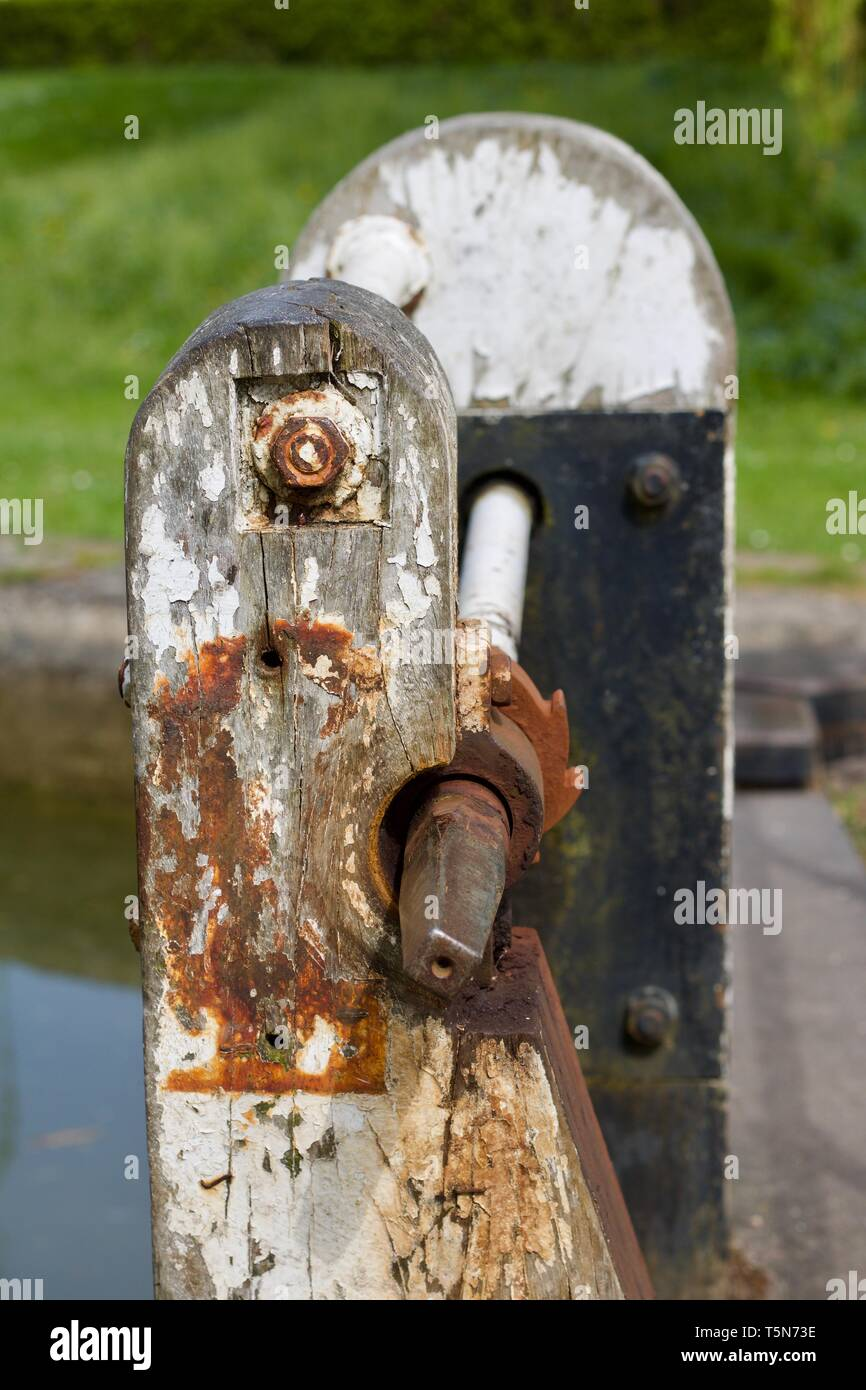 Rusty Old Canal Lock Gate Mechanism - Image - Stock Image