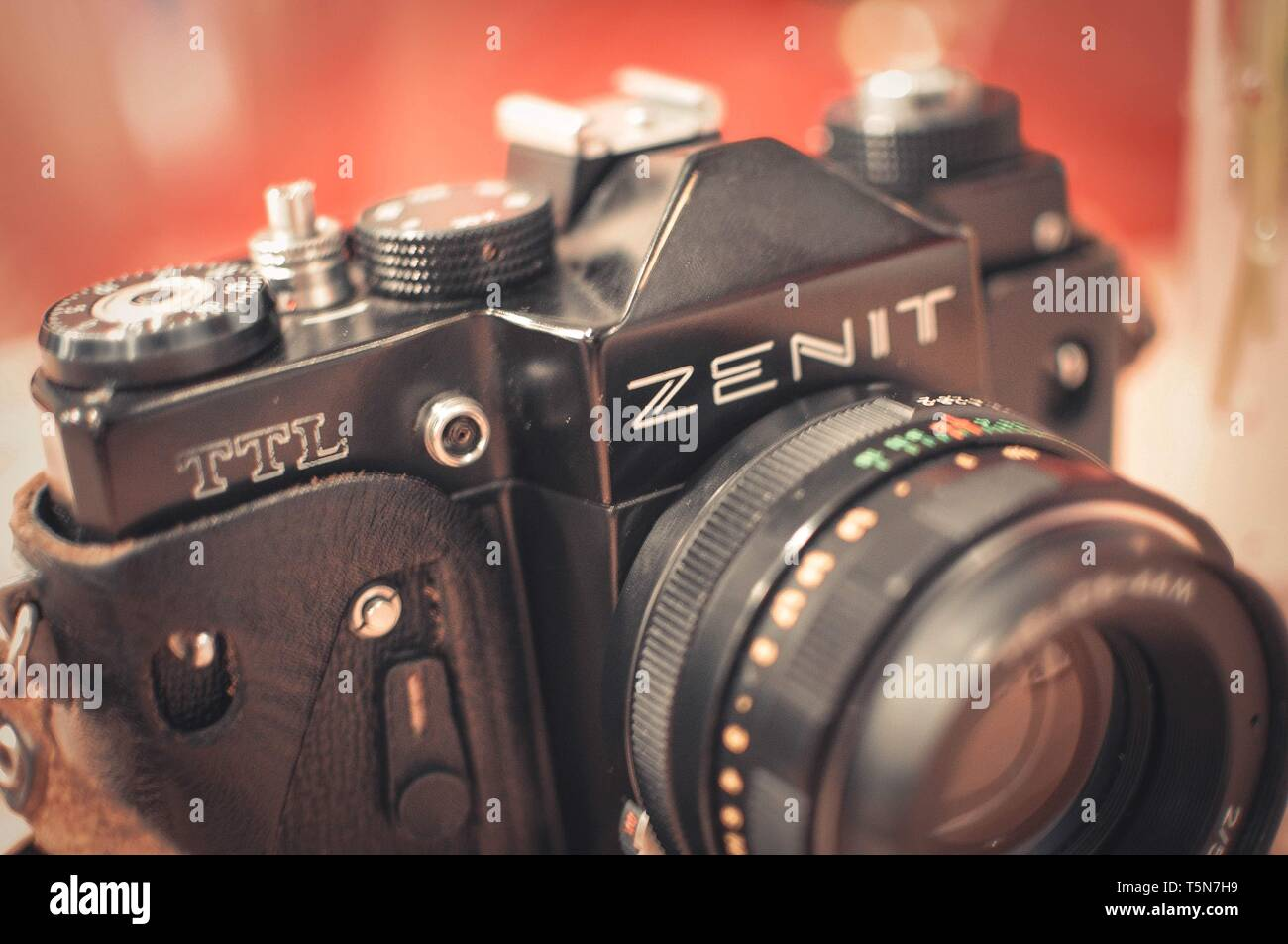 Ternopil, Ukraine - June 20, 2013. The old Soviet camera Zenit TTL - Stock Image