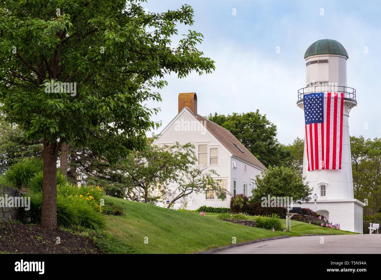 Cape Elizabeth West Lighthouse, Cape Elizabeth, Maine - Stock Image