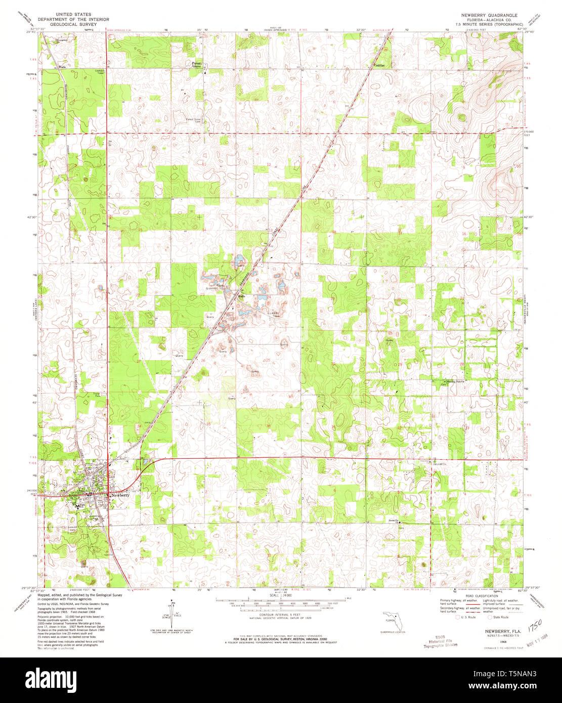 USGS TOPO Map Florida FL Newberry 347640 1968 24000 ...