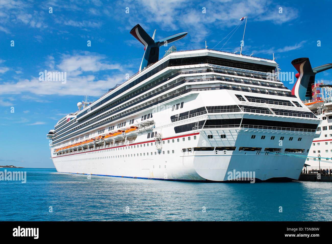 Cruise ship anchored in Nassau - Bahamas - Stock Image