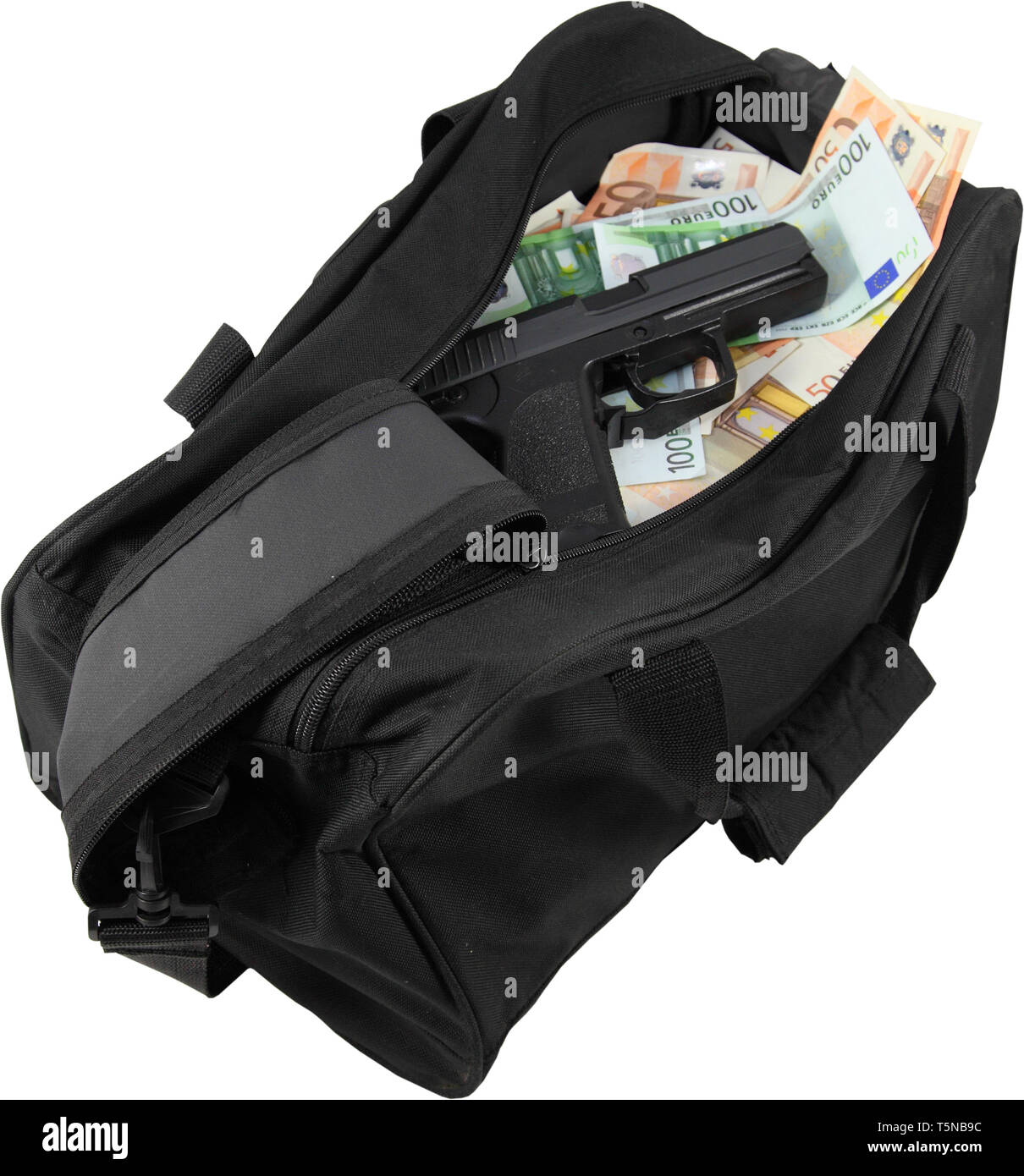 Loot from bank robbery. Sports bag full of money with gun - isolated - Stock Image