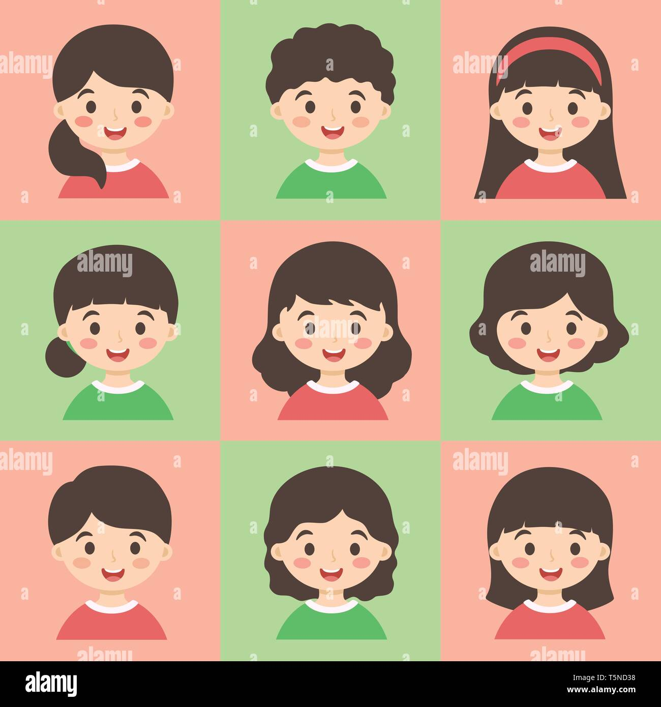 Cute Kids Face Avatar Cartoon Character With Different Hair