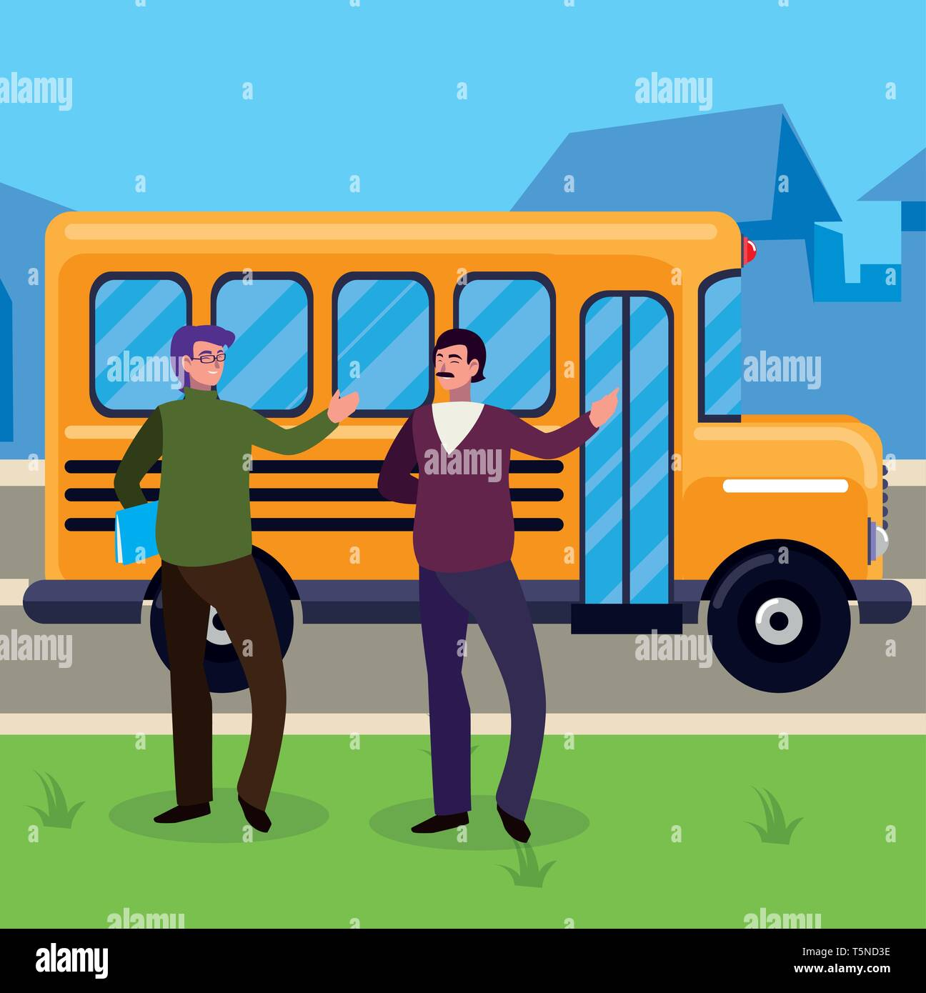 teachers couple in bus stop vector illustration design - Stock Vector