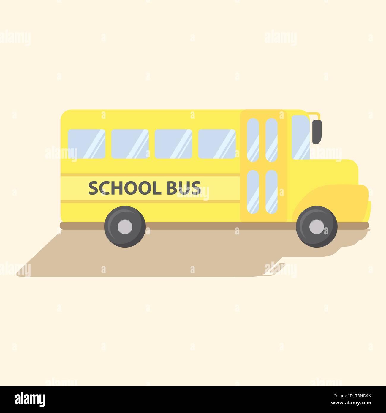 School Transportation Bus Yellow Vector Cartoon Illustration - Stock Image