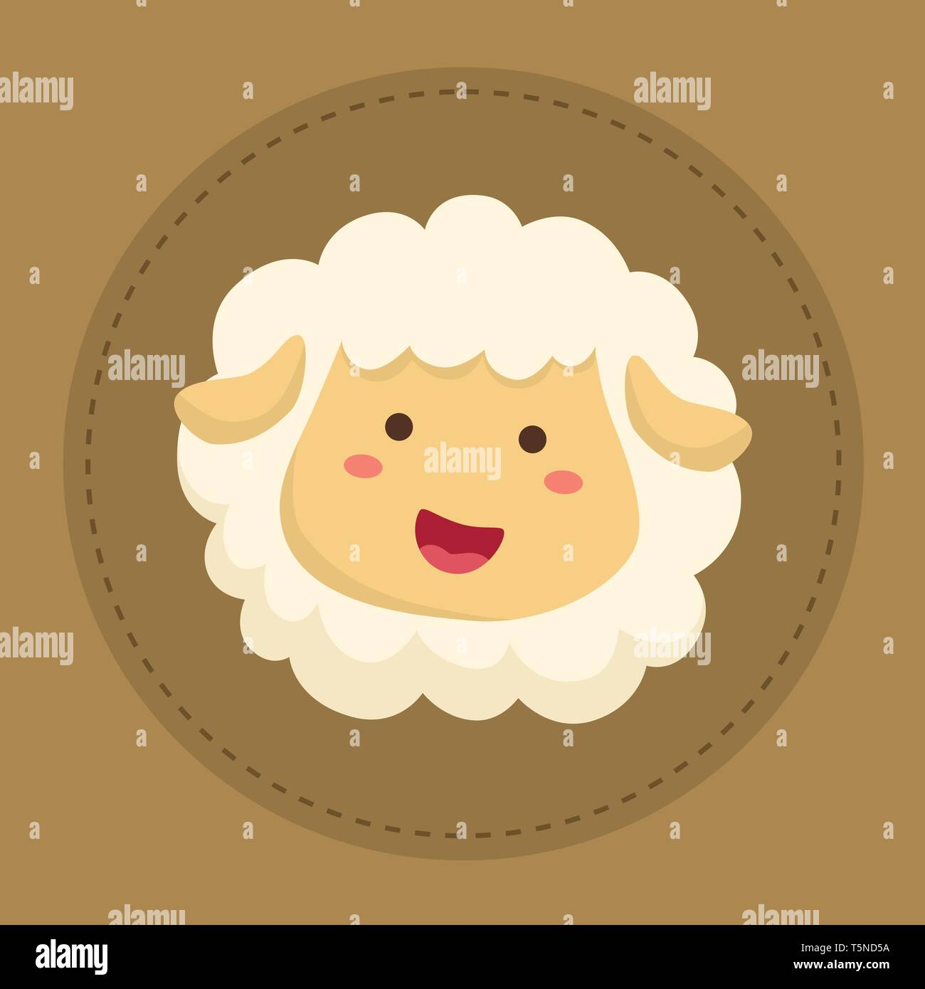 Cute Sheep Smiling on Brown Circle background vector illustration - Stock Vector