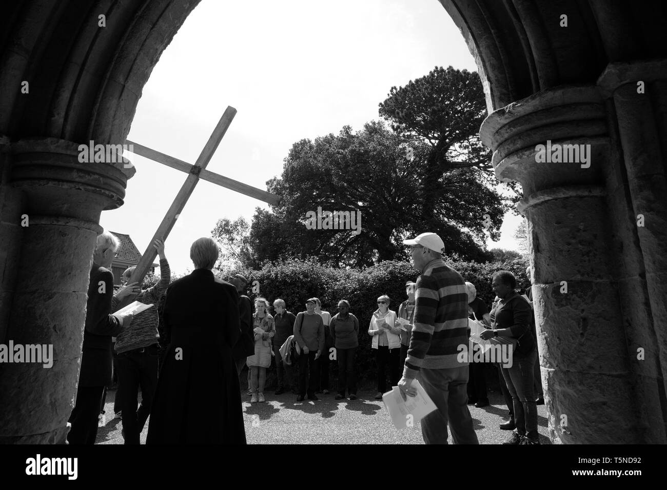 Procession of Witness religious occasion, Good Friday 2019, Shanklin, Isle of Wight, UK. - Stock Image