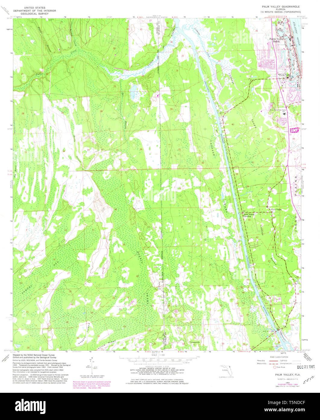USGS TOPO Map Florida FL Palm Valley 347978 1964 24000 Restoration ...
