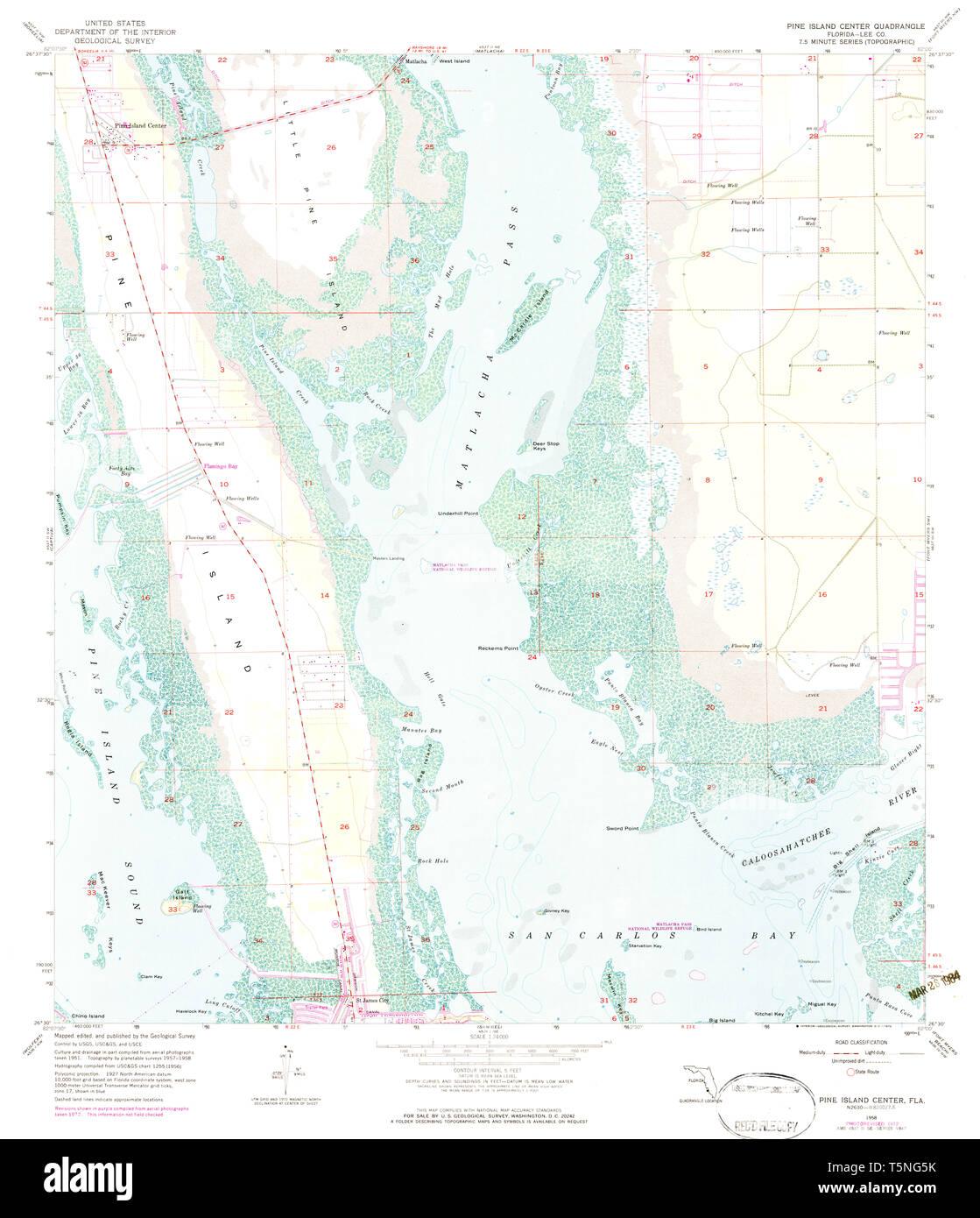 USGS TOPO Map Florida FL Pine Island Center 348109 1958 ...