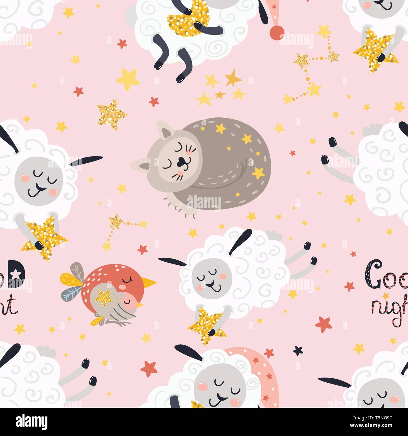 Seamless pattern for girls with sleeping animals - Stock Vector