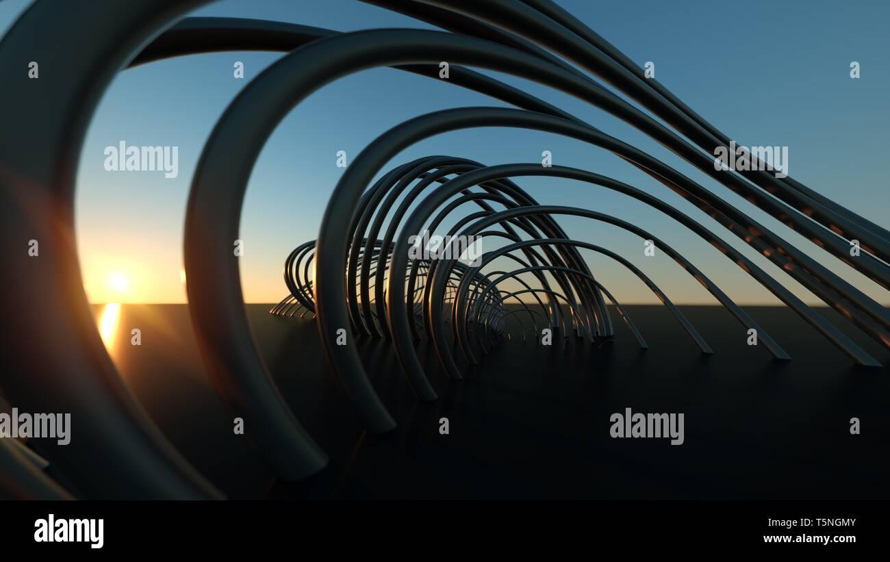 Curved Modern Bridge at Sunset 3 Dimensional Realistic Curving Modern Bridge at Sunset - Stock Image