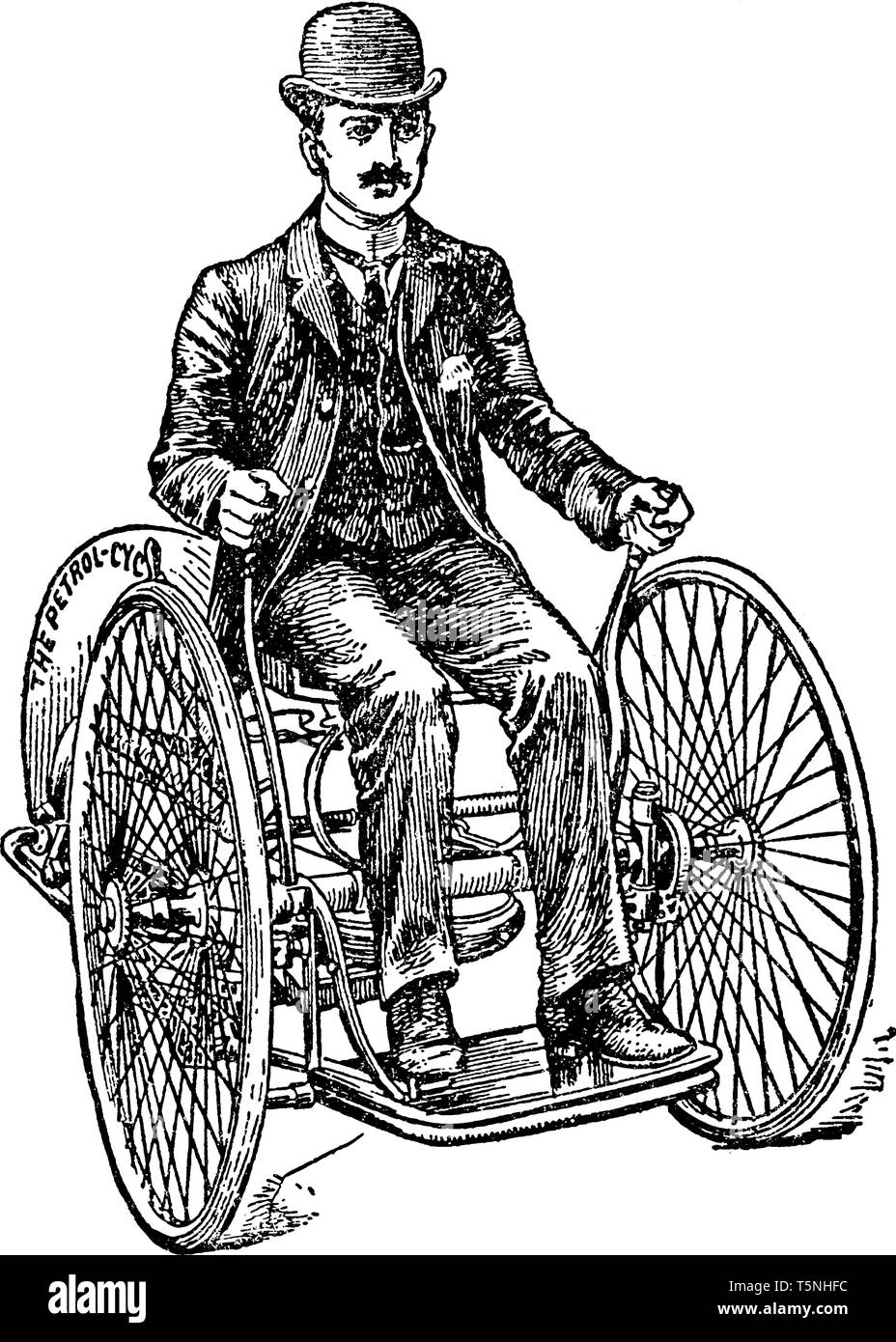 Butler Gas Operated Motor Tricycle Was Not Fitted With A Braking System And Operated At 3 To 10 Mph Vintage Line Drawing Or Engraving Illustration Stock Vector Image Art Alamy