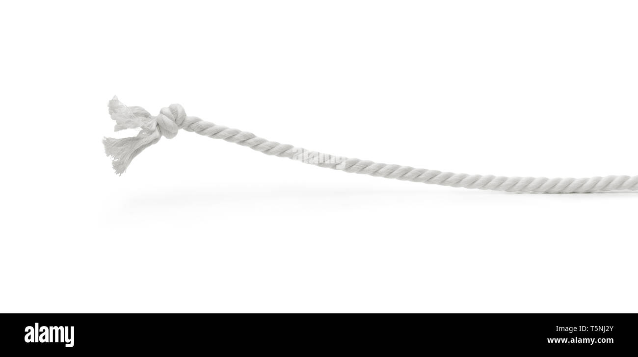 Funny braided rope concept. Braided rope getting up itself against white background - Stock Image