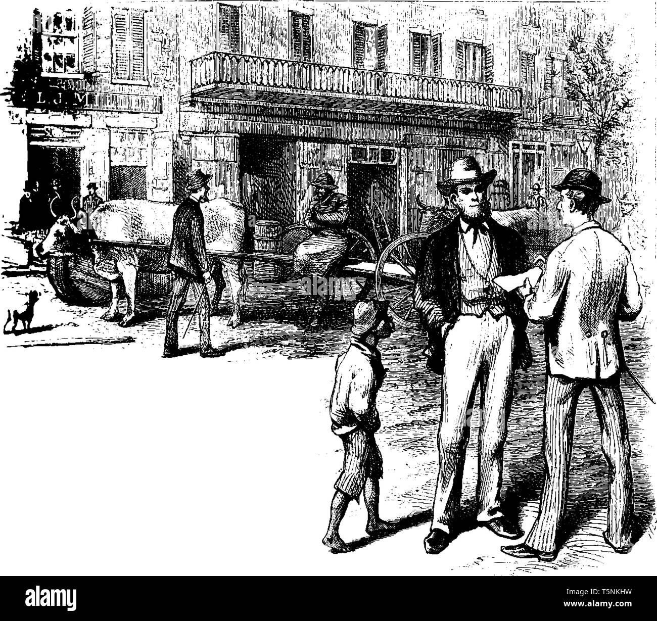 Men Talking on Street where two adult males standing on a busy street talking, vintage line drawing or engraving illustration. - Stock Vector