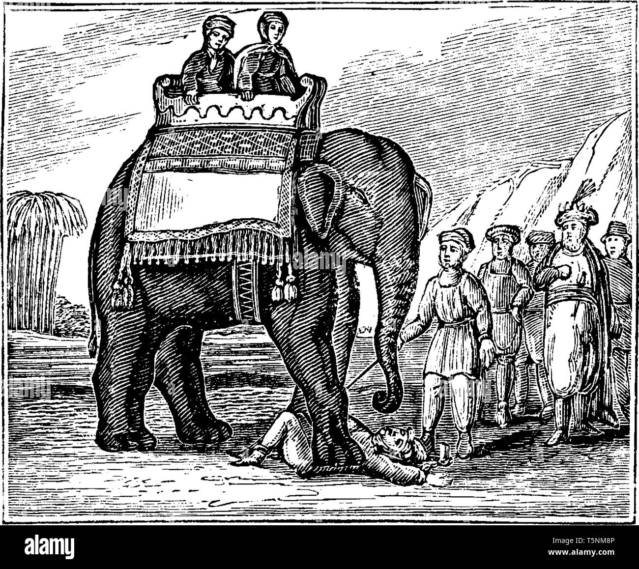 Emperor of the Moguls where the parents were mounted on the elephant and he ordered the driver to tread the unfortunate young man to death, vintage li Stock Vector