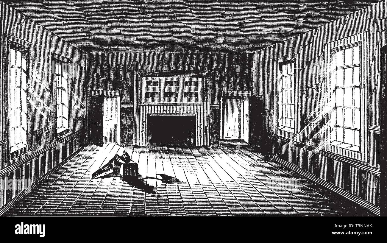 The Apollo Room,the room used for public meetings at Williamsburg,vintage line drawing or engraving illustration - Stock Vector
