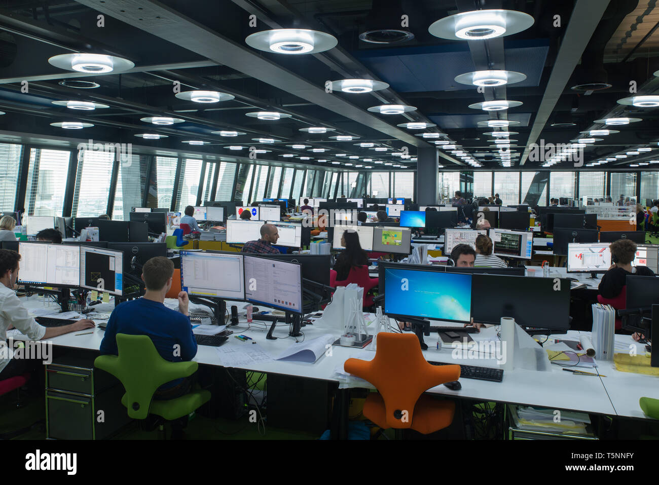 Architecture firm 'Rogers Stirk Harbour + Partners' offices in the City of London in the Leadenhall building nicknamed the Cheesegrater. - Stock Image