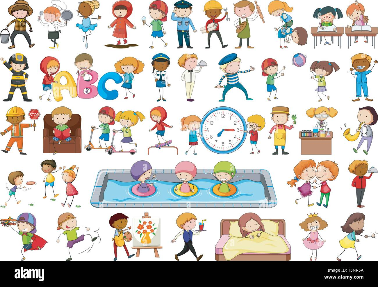Set of simple characters illustration - Stock Vector