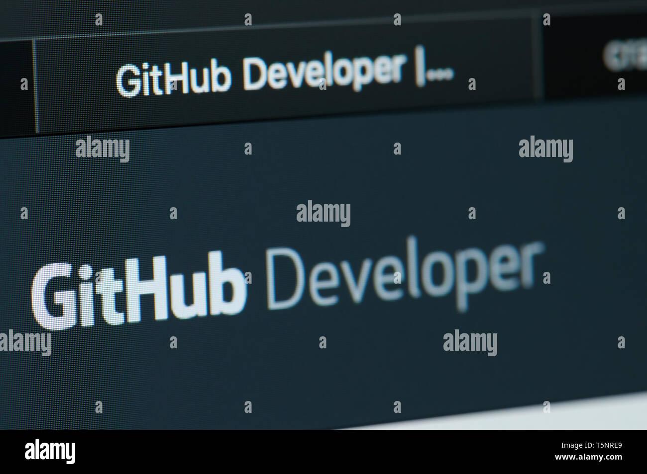 New york, USA - april 22, 2019: GitHub developer home page