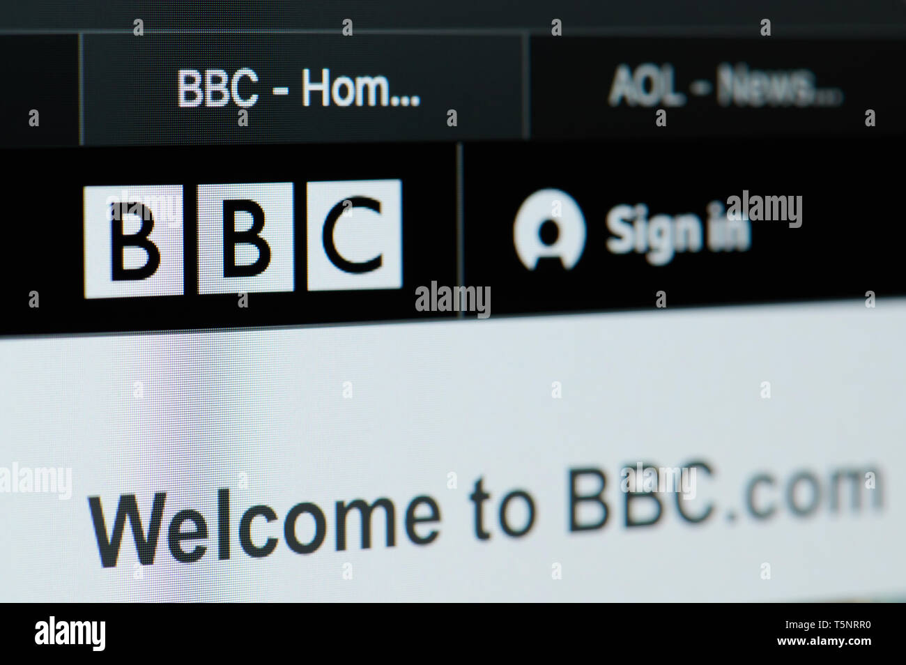 New york, USA - april 22, 2019: BBC news home page on laptop screen close up - Stock Image
