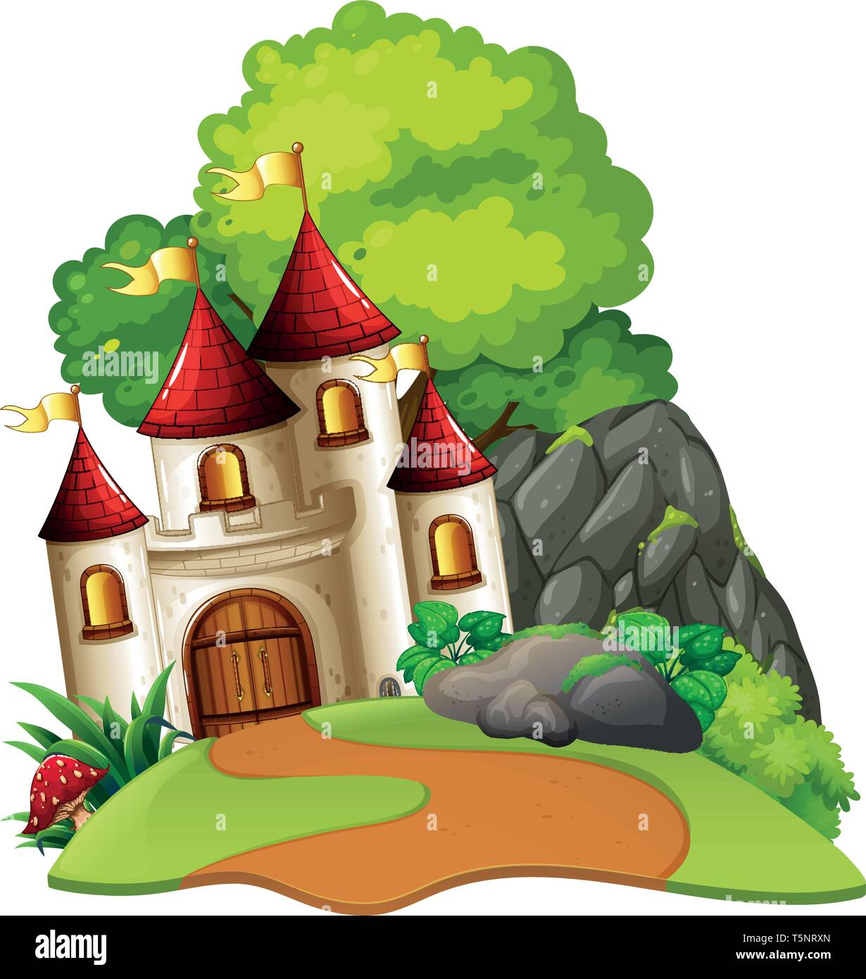 Castle in woods isolated scene illustration - Stock Image