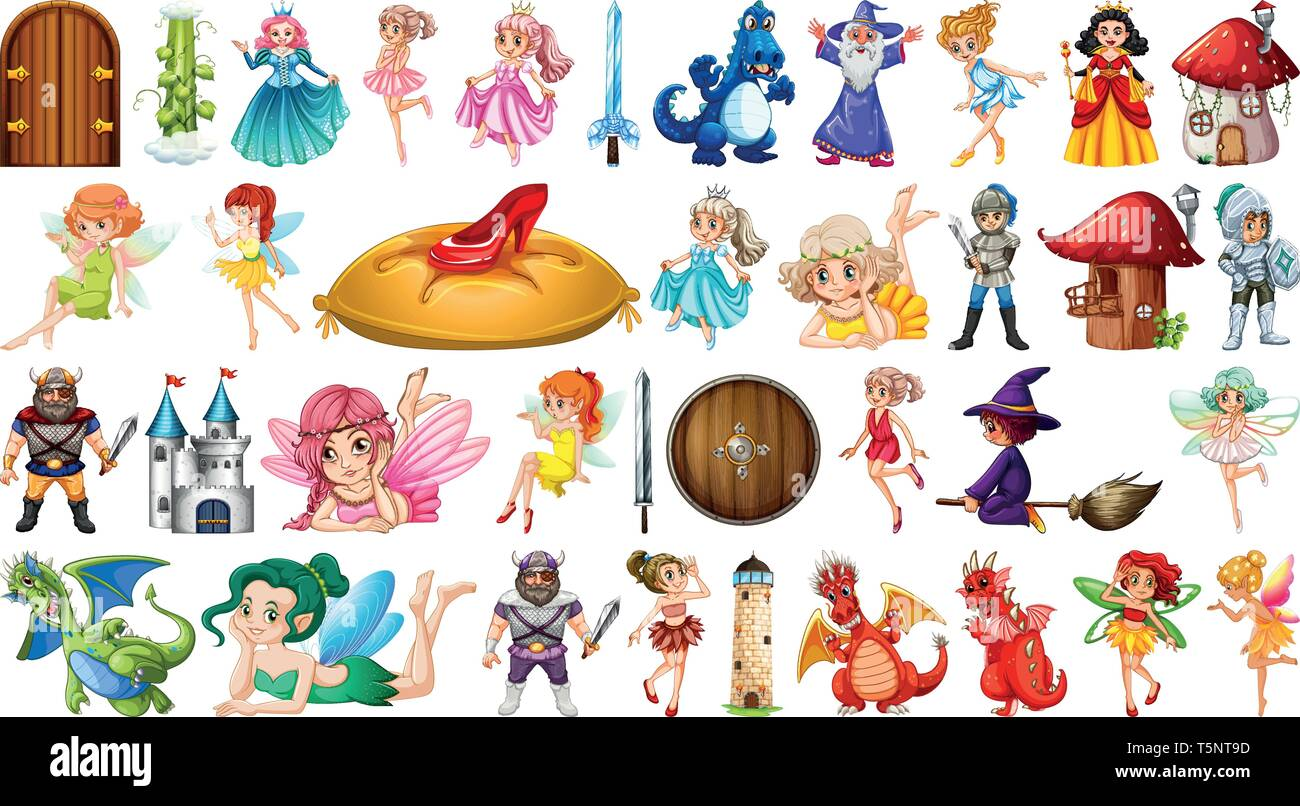 Set of medieval character illustration - Stock Image