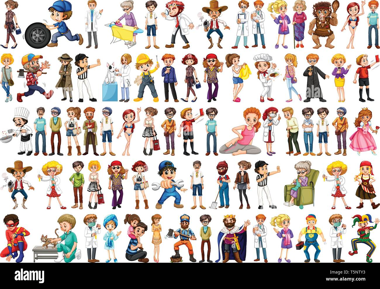Set of different people illustration - Stock Vector