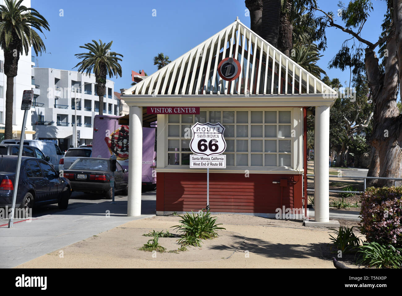 LOS ANGELES, CA/USA  - APRIL 11, 2019: Sign marking the western end of the historic Route 66 at the Santa Monica visitors center - Stock Image