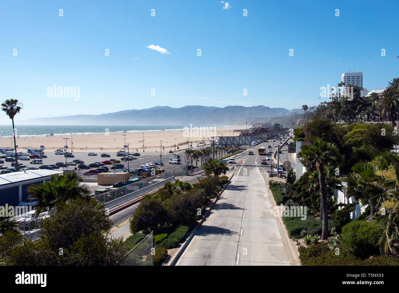 Junction of the Pacific Coast Highway and 10 Freeway in Santa Monica California - Stock Image