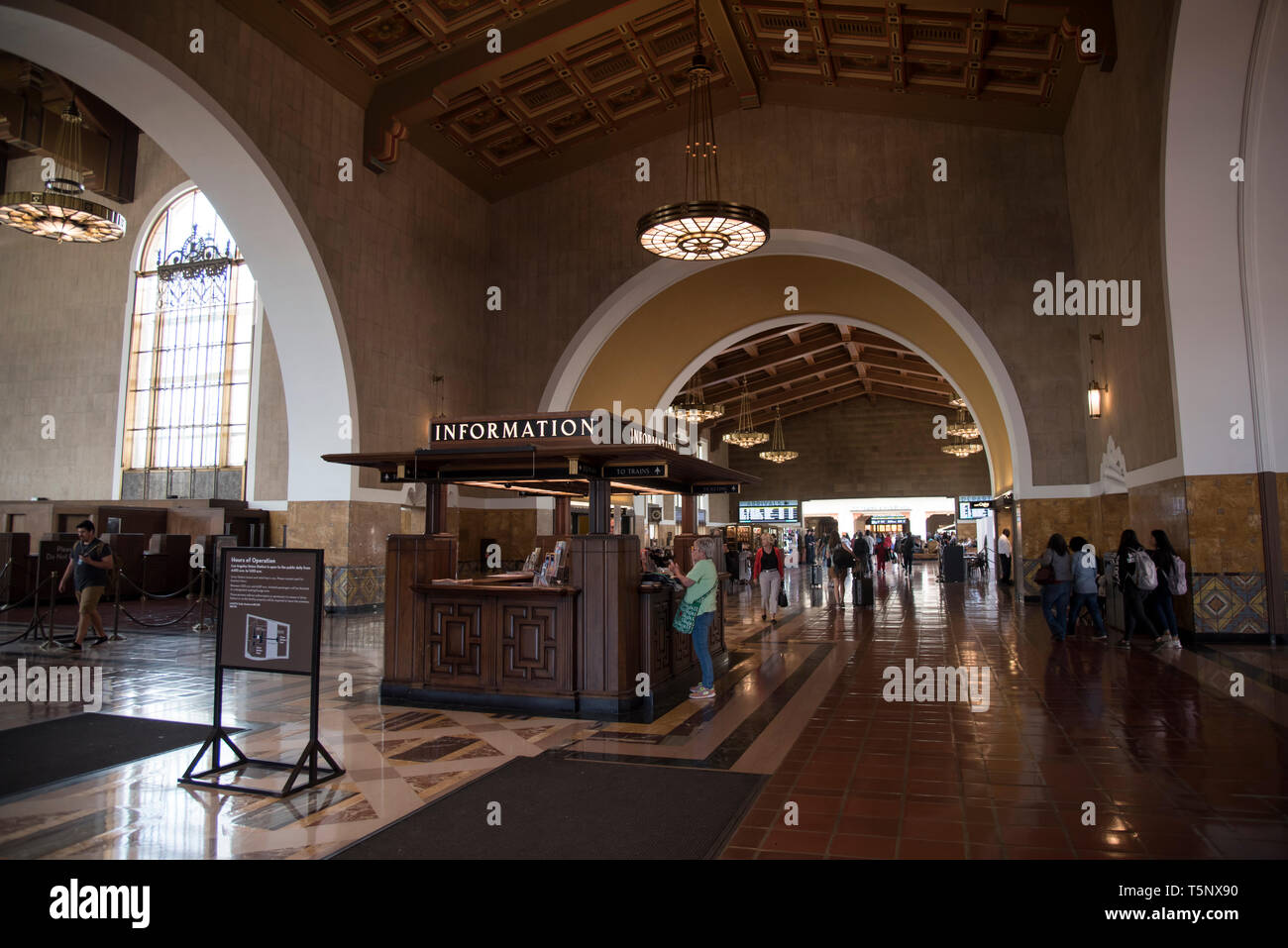 LOS ANGELES, CA/USA  - APRIL 14, 2019: Information desk in the beautiful Union Station in Downtown Los Angeles - Stock Image