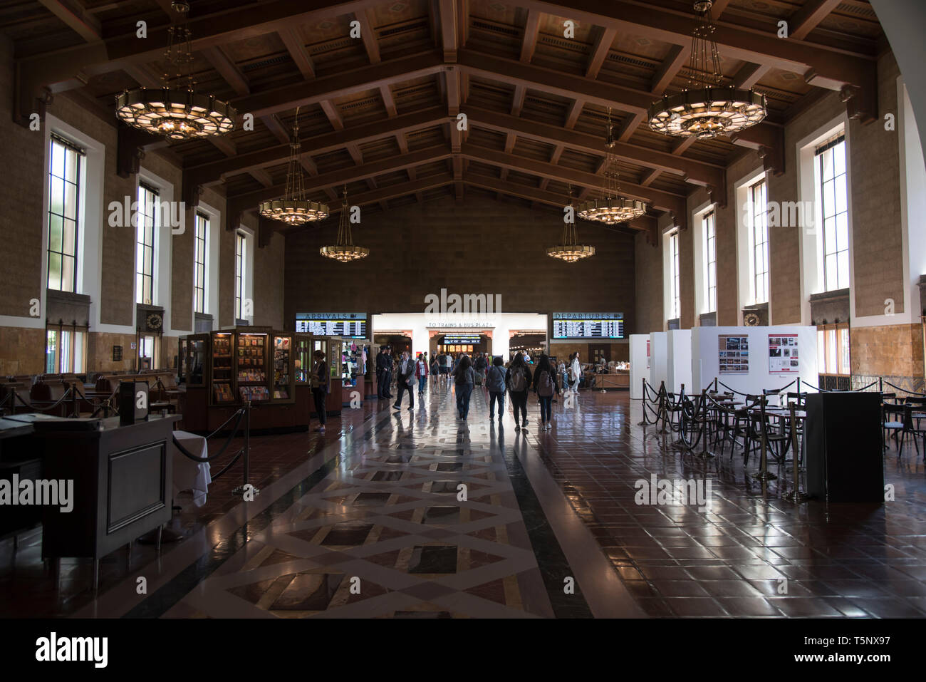 union station; historic; architecture; building; landmark; travel; transportation; spanish; beautiful; los angeles; downtown; outside; city; urban; da - Stock Image