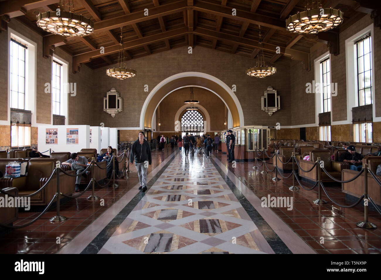 LOS ANGELES, CA/USA  - APRIL 14, 2019: Waiting area of the historic Union Station in Downtown Los Angeles - Stock Image