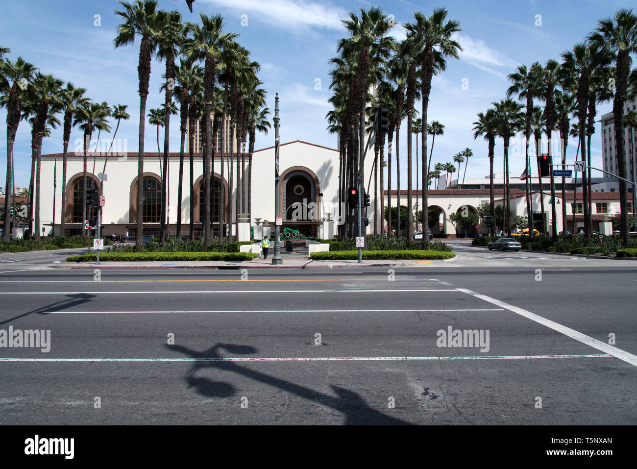 LOS ANGELES, CA/USA  - APRIL 14, 2019: Entrance to the historic Union Station in Downtown Los Angeles - Stock Image