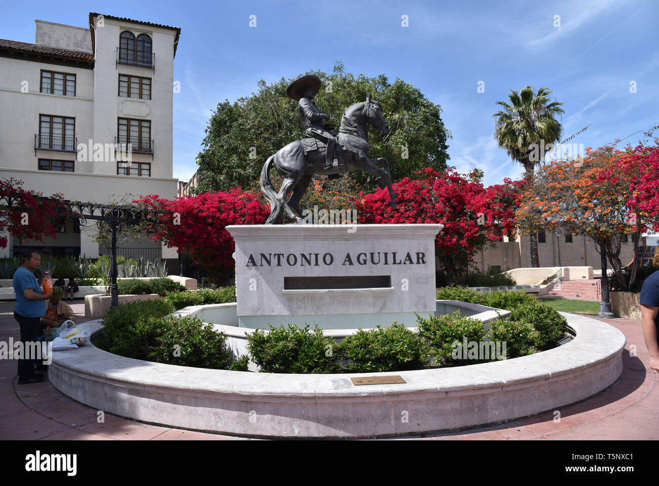 LOS ANGELES, CA/USA  - APRIL 14, 2019: Statue of Mexican singer, actor, songwriter, film producer and equestrian Antonio Aguilar at in Downtown Los An - Stock Image